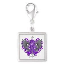 Alzheimer's Disease Wings Silver Square Charm