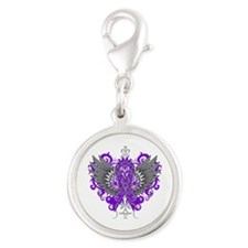 Alzheimer's Disease Wings Silver Round Charm
