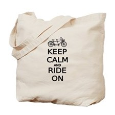 keep calm and ride on word art, text design Tote B