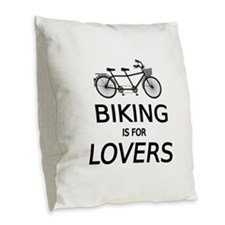 biking is for lovers Burlap Throw Pillow