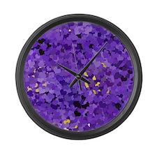 Purple Confetti Hearts Large Wall Clock