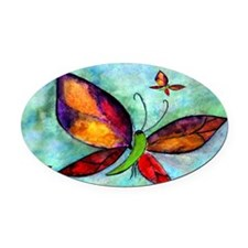 Butterfly Art Oval Car Magnet