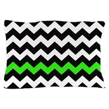 Black and Green Chevron Zigzags Pillow Case