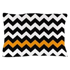 Black and Orange Chevron Zigzags Pillow Case