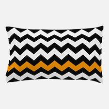 Black and Orange Chevron Zigzags Pillow Case