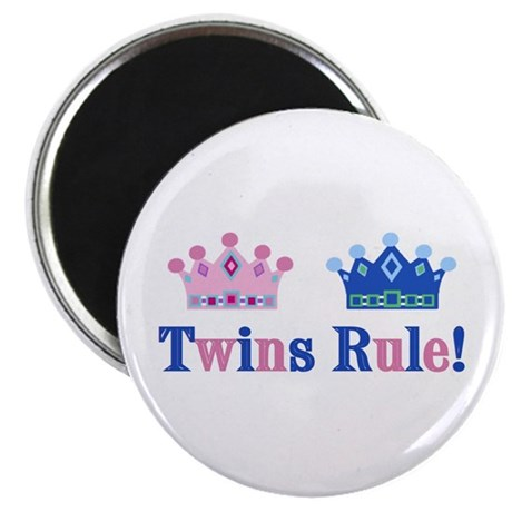 "Twins Rule! (Girl & Boy) 2.25"" Magnet (10 pack)"