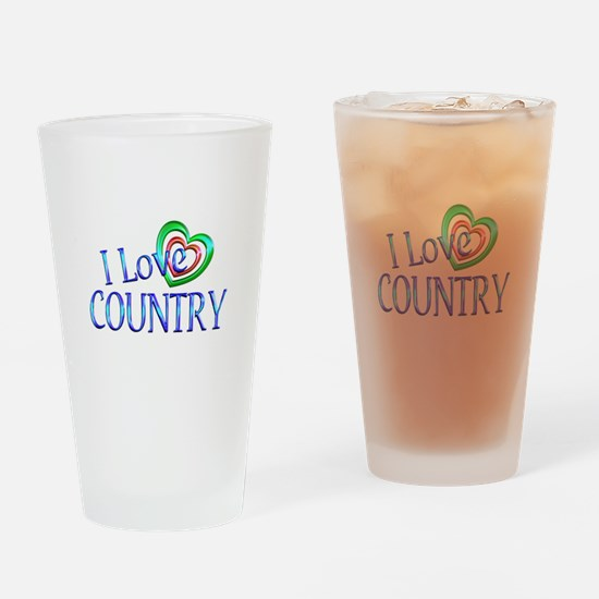 I Love Country Drinking Glass