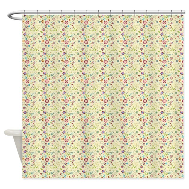 Whimsical Retro Floral Shower Curtain By Icandyproducts