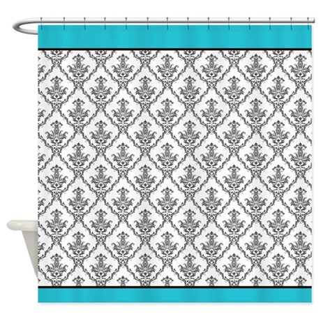 Turquoise And Black Baroque Shower Curtain By ICandyProducts