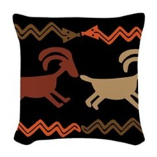 Tribal Goat and Snake Design Woven Throw Pillow