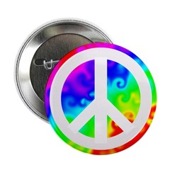 Groovy Rainbow Peace Sign Button