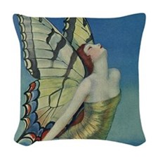 Art Deco Glamour Butterfly Woven Throw Pillow