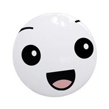 Kawaii Happy Face Smiling Round Ornament