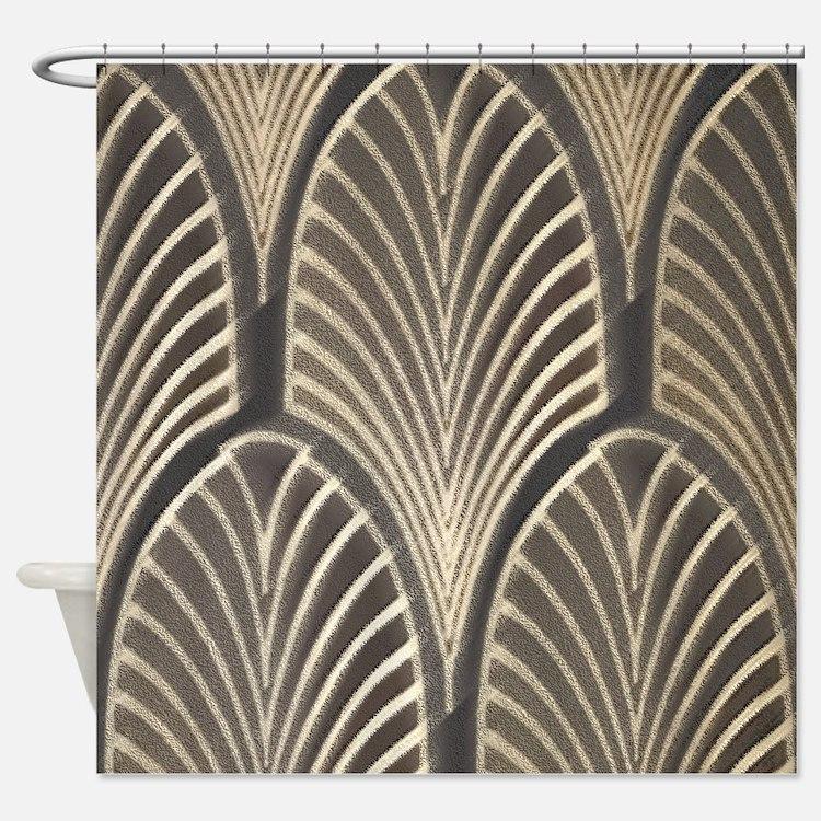 Art Deco Shower Curtains | Art Deco Fabric Shower Curtain Liner