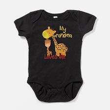 My Grandma Loves Me Giraffe Baby Bodysuit