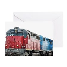 Train Blanket Blank Greeting Cards