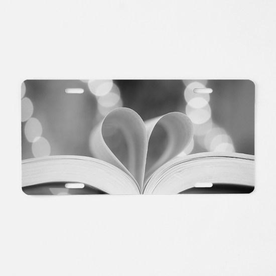 Book Heart Aluminum License Plate