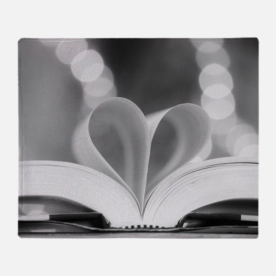Book Heart Throw Blanket
