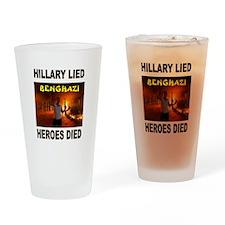 HILLARY LIED Drinking Glass