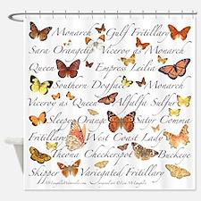 Orange Butterflies Shower Curtain
