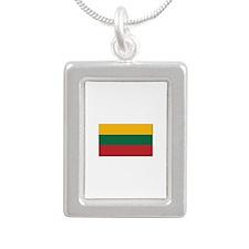 Flag of Lithuania - NO T Silver Portrait Necklace
