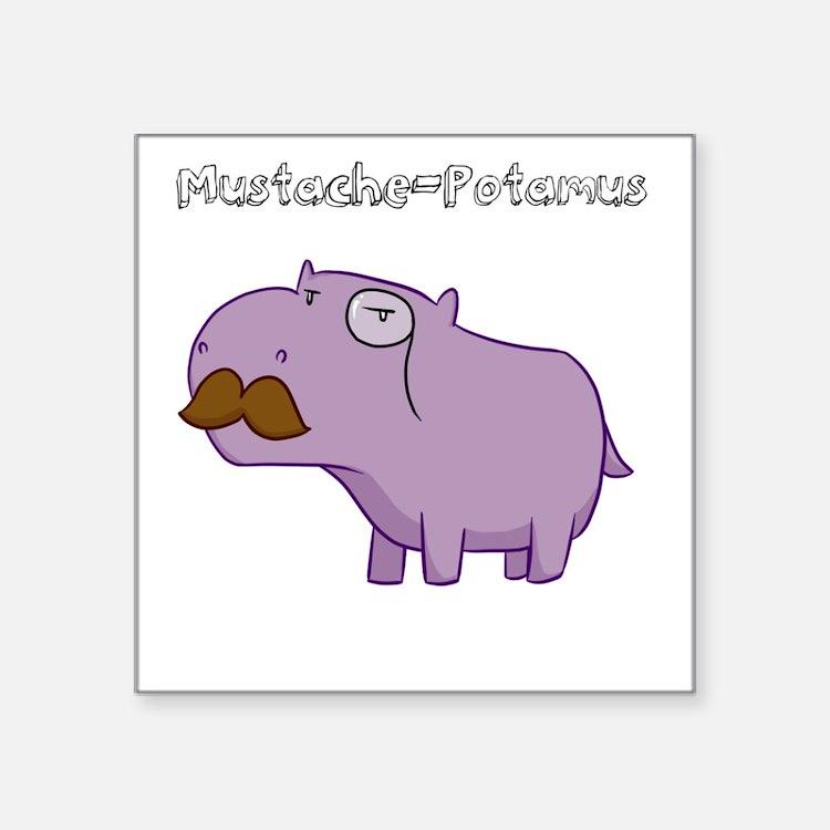 Mustache-Potamus Sticker