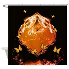 Heart with flames Shower Curtain