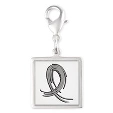 Asthma Graffiti Ribbon 2 Silver Square Charm