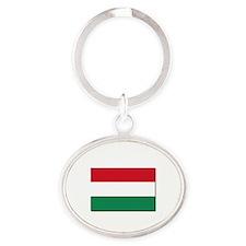 Hungary Flag Oval Keychain