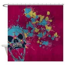 Grunge Floral Skull Shower Curtain