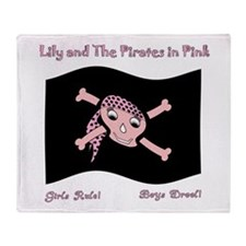 Pirates In Pink Flag-Girls Rule-Boys Throw Blanket