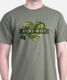 Camo Heart Army Wife T-Shirt