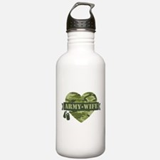 Camo Heart Army Wife Water Bottle