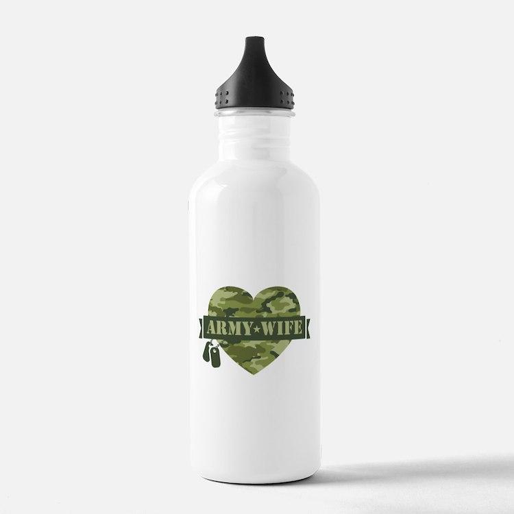 Camo Heart Army Wife Water Bottle