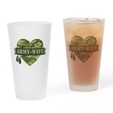 Camo Heart Army Wife Drinking Glass
