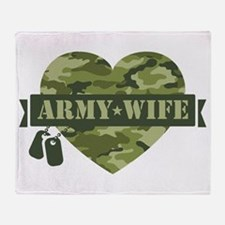 Camo Heart Army Wife Throw Blanket