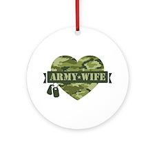 Camo Heart Army Wife Ornament (Round)