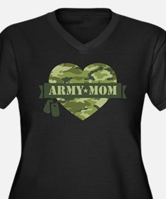 Camo Heart A Women's Plus Size V-Neck Dark T-Shirt