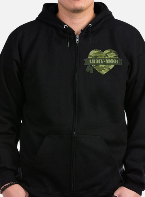 Camo Heart Army Mom Zip Hoodie (dark)