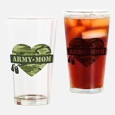 Camo Heart Army Mom Drinking Glass