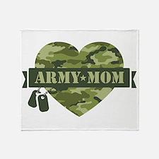 Camo Heart Army Mom Throw Blanket