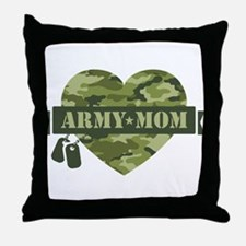 Camo Heart Army Mom Throw Pillow