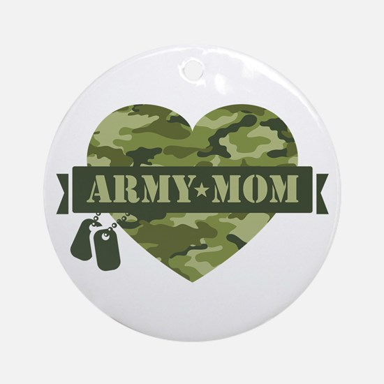 Camo Heart Army Mom Ornament (Round)