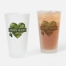 Camo Heart Army Baby Drinking Glass