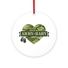 Camo Heart Army Baby Ornament (Round)