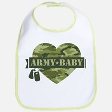 Camo Heart Army Baby Bib