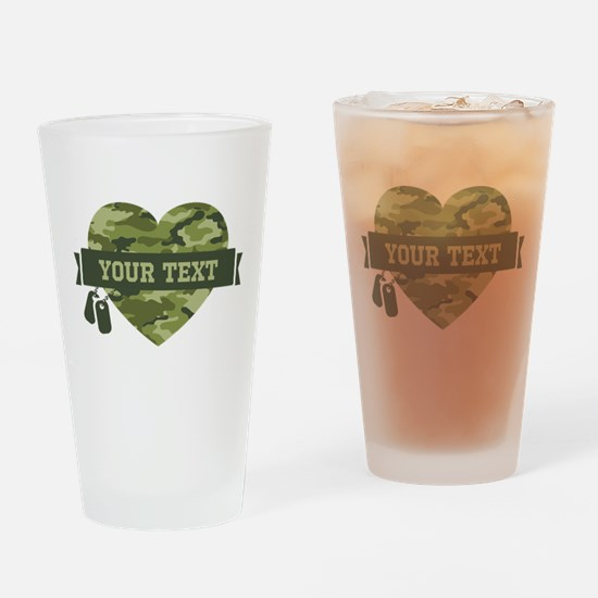 PD Army Camo Heart Drinking Glass