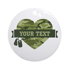 PD Army Camo Heart Ornament (Round)
