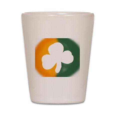 Irish flag around shamrock Shot Glass