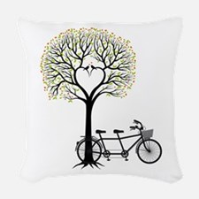 Heart tree with birds and tandem bicycle Woven Thr